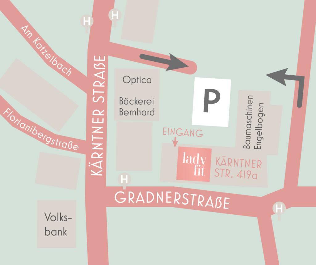 Lageplan Standort LadyFit Straßgang